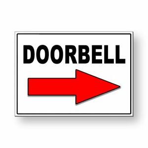 Doorbell Arrow Right Metal Sign 5quot; x 7quot; With Double Sided Mounting Tape MS046 $8.89