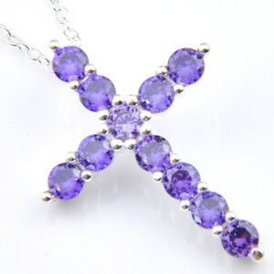 Xmas Mystical Natural Purple Amethyst Gemstone Silver Cross Necklace Pendants