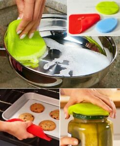 Set of 3 Silicone Multi-Use Scrubbers Dishwasher Microwave Oven Freezer Safe New