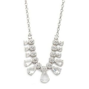 KATE SPADE $98 CLINK OF ICE Clear Crystal Silver statement necklace NWD