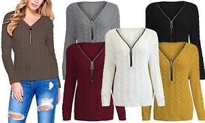 NEW Womens Ladies Zip Front Cable Knit Italian Quality Jumper Knitwear Top 8-14