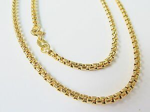 J.Lee Pure 18K Yellow Gold Necklace - Classic 2.5mm Squared Link Chain 25.6inch