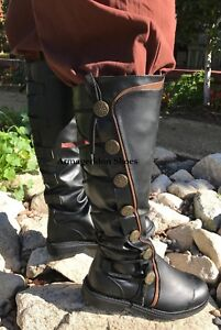 Black Steampunk Pirate Captain Medieval Halloween Costume Mens Boots Shoes