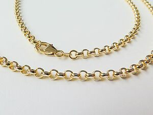 J.Lee 21.6inch Pure 18K Yellow Gold Necklace - Classic 3mm Rolo Link Chain