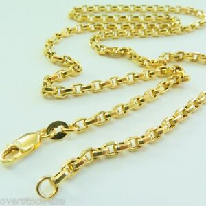 J.Lee Pure 18K Yellow Gold Necklace - Classic 3mm Rolo Link Chain Necklace 20