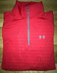 UNDER Armour MEN'S Red ALL Season GEAR 14 Zip PULLOVER Shirt TOP Dry FIT Loose