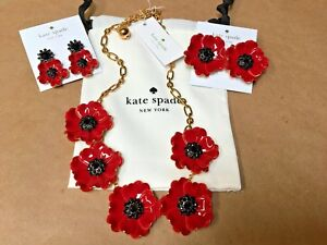 NEW Kate Spade Precious Poppies Necklace Earrings RedGoldBlack Statement