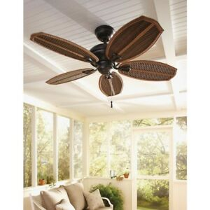 Outdoor / Indoor Natural Tropical Island Iron Ceiling Fan Wicker Palm 48 in.