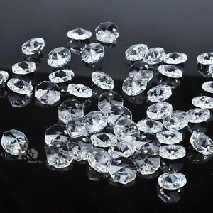 Sparkly Crystal Faceted Octagon Glass Beads Chandelier Parts Wholesale 14mm