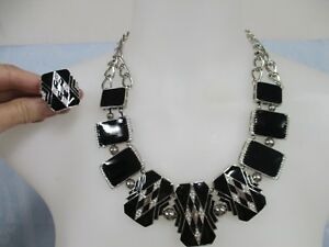 Stunning Silver Tone Metal & Black Enamel Costume Jewelry Necklace and Ring Set