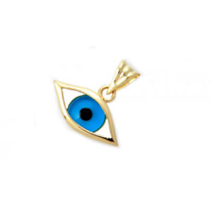 14K Gold Necklace Turkish Evil Eye Charm Amulet Pendant Protector Woman Jewelry