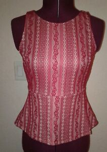 NWT peplum top Francesca's Red And White Lace tank Top Xs