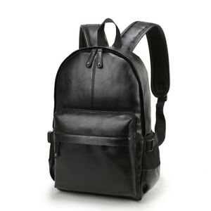 Style Leather School Backpack Bag For College Simple Design Men Casual Daypacks