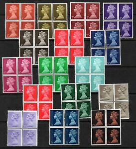 1967 pre decimal Machins. Set x 16 values in blocks x 4. Fine unmounted mint.