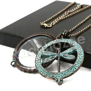 Patina Antique Vintage Dragonfly 5X Magnifying Glass Locket Pendant Necklace