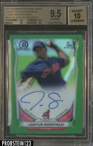 2014 Bowman Chrome Green Refractor Justus Sheffield RC AUTO 99 BGS 9.5 w 10