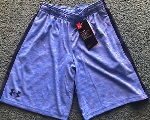 NWT Under Armour Boys L Light Blue Gray TwistedNavy Blue Loose Fit Shorts YLG