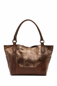 NWT - FRYE Melissa Leather Snake Pattern Tote Bag  -  $428  - BRONZE