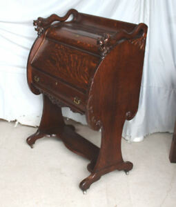 Antique Oak drop front Secretary Writing or Small Desk – unusual design - Detail