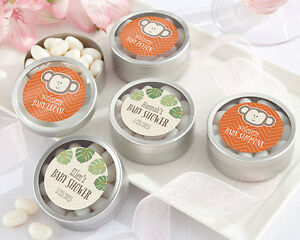 72 Personalized Born To Be Wild Round Silver Candy Tins Baby Shower Favors