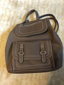 new brown leather women backpack purse
