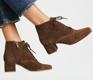 Madewell lace-up block heel boots weathered maple brushed suede new in box