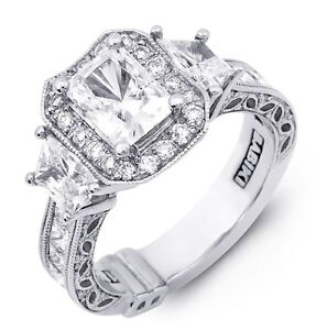 Designer PLAT 1.58ctw 3 Stone Halo Princess Cut or Radiant or Emerald Semi Mount