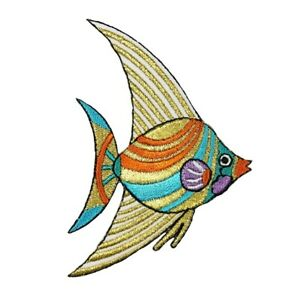 ID 0248A Shiny Angelfish Patch Ocean Sea Exotic Pet Embroidered Iron On Applique $5.99