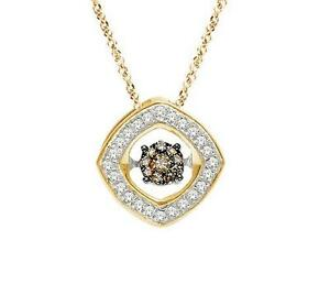 Twinkle Pendant 10K Yellow Gold Chocolate Brown Floating Diamond Necklace .10ct