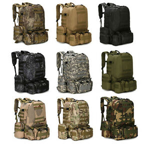 55L Molle Outdoor Military Tactical Bag Camping Hiking Trekking Backpack