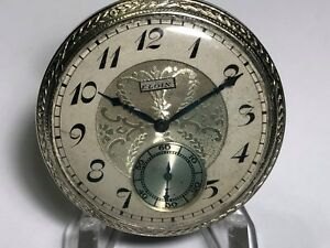 ANTIQUE 1920's ELGIN 14K WHITE GOLD FILLED 17 JEWELS 12s POCKET WATCH RUNS GREAT