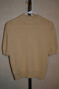 St. John Marie Gray size S Gold Lurex Knit Top Sweater Shirt MINT