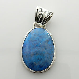 Unique Handmade Denim Lapis Sterling Silver Pendant