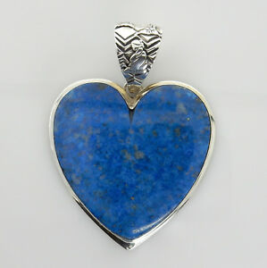 Large Handmade Unique Denim Lapis Sterling Silver Heart Pendant