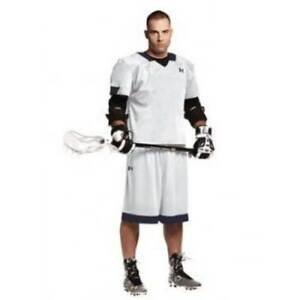 NEW - UNDER ARMOUR Men's TOLI STOCK ULJ140M WhiteNavy LACROSSE JERSEY - L