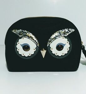 NWT Kate Spade Owl Small Marcy Star Bright Black Cosmetic Pouch $119