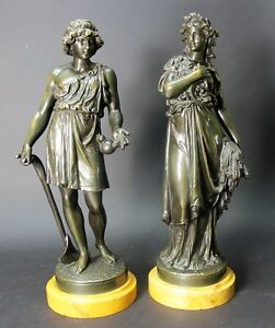 Pair of Mid 19th C. FRENCH BRONZE Sculptures of Harvesters c. 1870 antique $1020.00