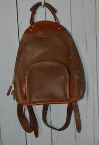 Vintage M. LONDON Rugged Brown Leather Backpack Sling Small Tote Purse Bag USA
