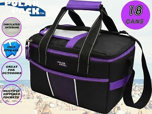 POLAR PACK 18 Can Double Handle Square Box Collapsible Cooler Bag Soft Portab...