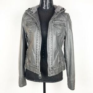 MISS SIXTY Women's Size Medium Biker Jacket with Hoodie Faux Leather Gray Vegan