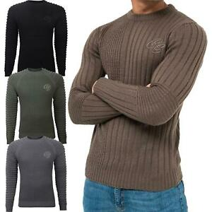 Mens Chunky Crosshatch Jumper Crew Neck Cable Knit Ribbed Sweater Fashion Top