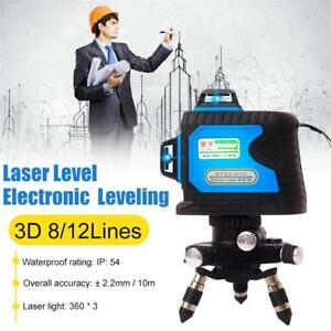 812 Lines Green Light 3D Laser Level 360° Auto Self-Leveling Construction Site