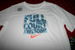 BOYS NIKE DRY DRI-FIT COTTON TEE BASKETBALL SHIRT XL OR LARGE WHITE 942148 NWT