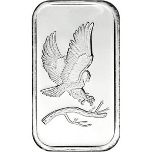 1 oz. SilverTowne Silver Bar Bald Eagle Design 999 Fine