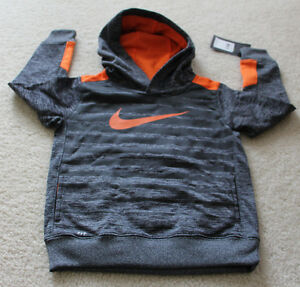 Nike Therma dry fit sweat shirt hoodie kids boys Gray Heather orange size 4 XS..