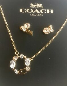 NWT Coach Pendant Necklace & Earring Set MultiGold MSRP $115 #F37601 Gift Box