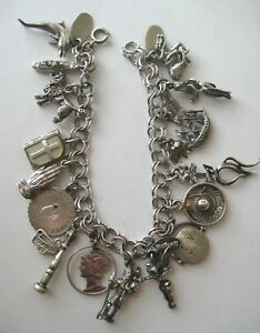 VINTAGE Sterling Silver CHARM BRACELET Loaded 46 Grams