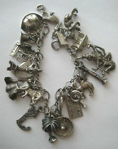 VINTAGE Sterling Silver CHARM BRACELET 21 Charms Loaded 42 Grams