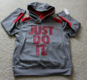 Nike Therma dry fit sweat shirt hoodie kids boys red Gray size 6 NEW Medium..-`