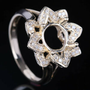 10K Yellow Gold Diamond Engagement Cocktail Semi Mount Ring Setting Round 8mm